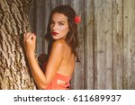 sexy glamor attractive brunette ... | Shutterstock . vector #611689937