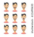 set of male emoji characters.... | Shutterstock .eps vector #611690633