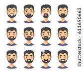 set of male emoji characters.... | Shutterstock .eps vector #611690663