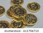 new british one pound coins up... | Shutterstock . vector #611706713