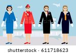 flight attendant vector | Shutterstock .eps vector #611718623