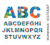 summer alphabet  capital vector ... | Shutterstock .eps vector #611723267