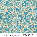 vector floral pattern in doodle ... | Shutterstock .eps vector #611743313