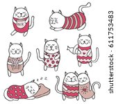 set of cute cartoon vector cats.... | Shutterstock .eps vector #611753483