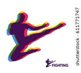 Karate Jump Kick. Fighter....