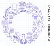 ancient greece vector elements... | Shutterstock .eps vector #611779607