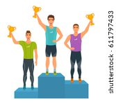 boys stand on podium  awarded... | Shutterstock .eps vector #611797433