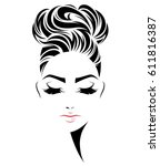 illustration of women bun hair... | Shutterstock .eps vector #611816387