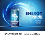 Energy drink on sparkly and shiny backdrop.Contained in blue can template,with element surrounds.  | Shutterstock vector #611822837