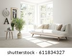 white room with sofa and green... | Shutterstock . vector #611834327