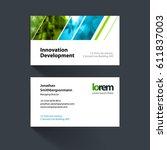 vector business card template... | Shutterstock .eps vector #611837003
