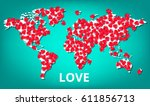 colorful world map with a lot... | Shutterstock .eps vector #611856713