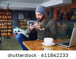 young handsome hipster man with ...   Shutterstock . vector #611862233