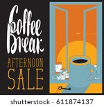 vector banner cup of coffee on... | Shutterstock .eps vector #611874137
