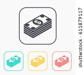 cash money banknotes vector... | Shutterstock .eps vector #611879117