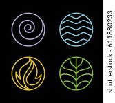 nature 4 elements circle line... | Shutterstock .eps vector #611880233