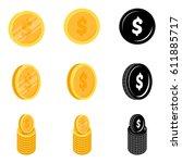 dollar coin vector icon...   Shutterstock .eps vector #611885717