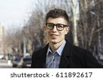 businessman man with glasses... | Shutterstock . vector #611892617