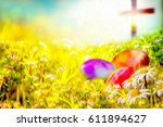 Easter Background With Colorfu...