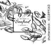 Seafood Hand Drawn Vector...