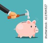 breaking the piggy bank  ...   Shutterstock .eps vector #611904527