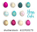 easter eggs set   Shutterstock .eps vector #611910173