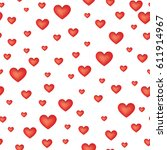 red love hearts seamless... | Shutterstock .eps vector #611914967