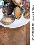 Small photo of Vertical shooting Abalone meat and abalone shell.