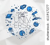 space flat monogram lettering... | Shutterstock .eps vector #611917277