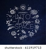 space flat monogram lettering... | Shutterstock .eps vector #611919713