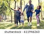 exercise activity family... | Shutterstock . vector #611946263