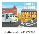 smiling children crossing...   Shutterstock .eps vector #611992943
