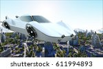 futuristic car flying over the... | Shutterstock . vector #611994893