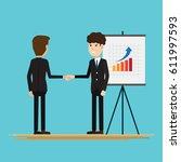businessmen shaking hands...   Shutterstock .eps vector #611997593