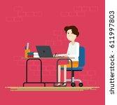 women working in room at office ...   Shutterstock .eps vector #611997803