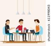 creative people working co... | Shutterstock .eps vector #611998043