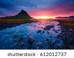 evening kirkjufell volcano the... | Shutterstock . vector #612012737