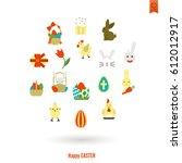 celebration easter icons.... | Shutterstock .eps vector #612012917