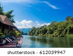 wooden home stay raft in... | Shutterstock . vector #612039947