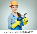 smiling woman wearing helmet... | Shutterstock . vector #612046793