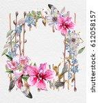 wreaths of flowers watercolor   Shutterstock . vector #612058157