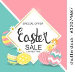 happy easter spring holiday... | Shutterstock .eps vector #612074687