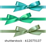set of green and blue bows with ... | Shutterstock .eps vector #612075137
