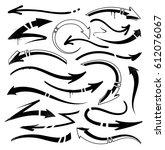 graffiti arrows set. vector set ... | Shutterstock .eps vector #612076067