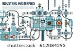 incredible complex industrial... | Shutterstock .eps vector #612084293