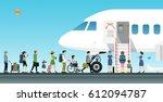 air hostess is welcoming... | Shutterstock .eps vector #612094787