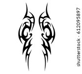 tattoo sketch tribal vector... | Shutterstock .eps vector #612095897