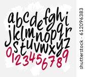 calligraphic alphabet. vector... | Shutterstock .eps vector #612096383