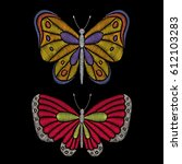 embroidery butterflies on black ... | Shutterstock .eps vector #612103283
