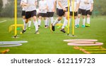 soccer skills training session. ... | Shutterstock . vector #612119723